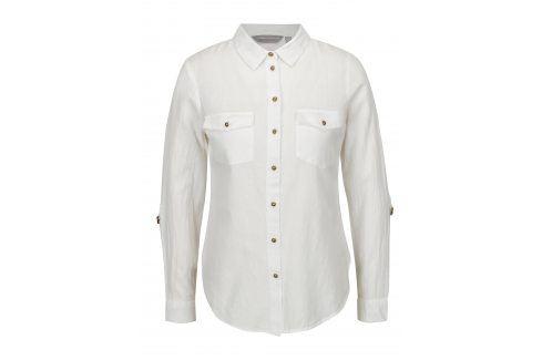 Bílá košile s knoflíky v bronzové barvě Dorothy Perkins Petite košile