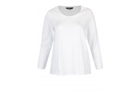 Bílé tričko s dlouhým rukávem a knoflíky Ulla Popken Móda pro plnoštíhlé