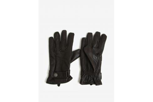 Hnědé kožené rukavice Lindbergh čepice, šály, rukavice