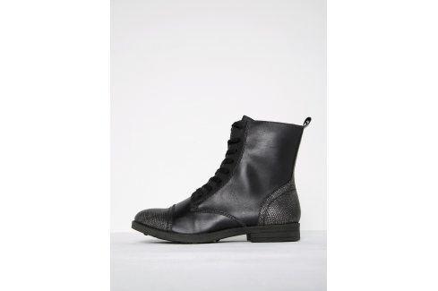 Černé kotníkové boty se vzorovanou špičkou s metalickými odlesky Tamaris Boty