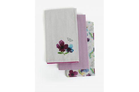 Bílo-fialová sada tří utěrek s květovaným motivem Cooksmart kuchyňský textil