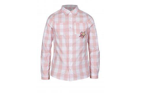 Krémovo-růžová holčičí kostkovaná košile s výšivkou 5.10.15. Halenky