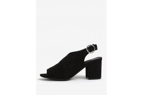 Černé sandálky na širokém podpatku Dorothy Perkins na podpatku