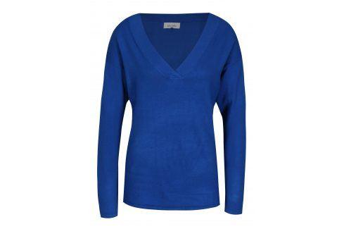 Tmavě modrý lehký oversize svetr s véčkovým výstřihem Blendshe Shana Móda pro ženy