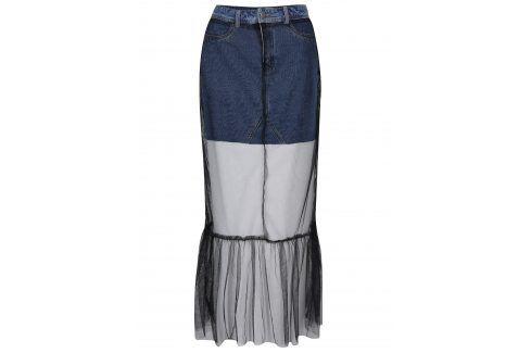 Černá tylová maxi sukně s všitou džínovou sukní Noisy May Be Dlouhé