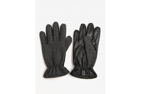 Černo-šedé rukavice s příměsí vlny a koženou spodní částí Jack & Jones Ray čepice, šály, rukavice