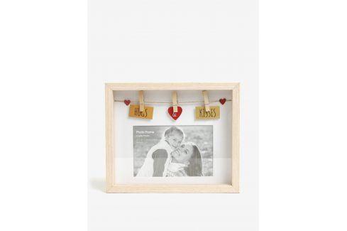 Hnědý fotorámeček SIFCON Hugs&Kisses rámečky a tabule