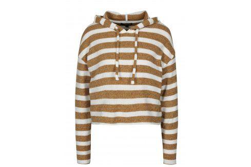 Bílo-hnědý pruhovaný crop svetr s kapucí TALLY WEiJL Móda pro ženy