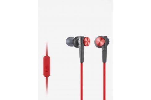 Červená špuntová sluchátka s mikrofonem Sony Extra Bass sluchátka