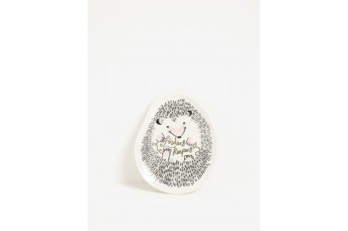 Krémová keramická miska na šperky ve tvaru ježka Disaster Over The Moon Hedgehog misky a talíře