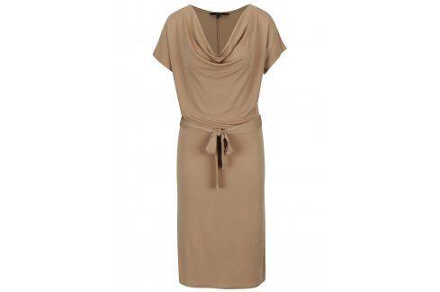 Béžové volné šaty se zavazováním v pase VERO MODA Nice šaty na denní nošení