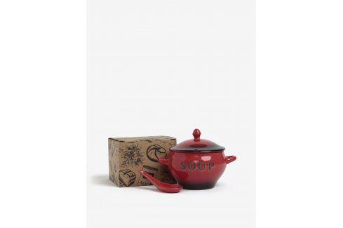 Červená keramická miska se lžičkou na polévku CGB misky a talíře