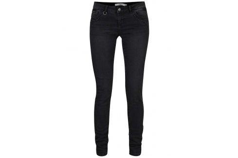 Tmavě šedé slim džíny se zdobenými kapsami VERO MODA Five Džíny, kalhoty, legíny