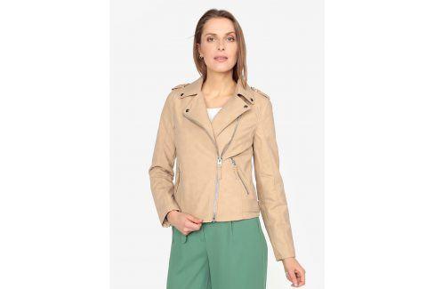 Béžový koženkový křivák s asymetrickým zipem Miss Selfridge koženkové, kožené bundy