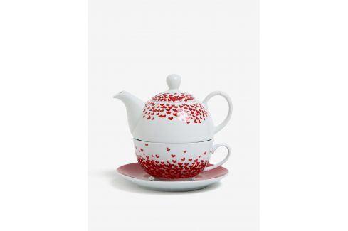 Set porcelánové konvice, šálku a podšálku v červené barvě Kaemingk misky a talíře