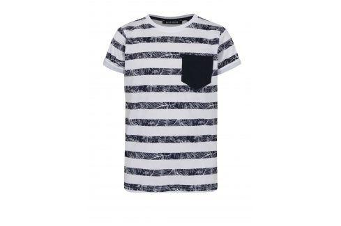 Bílé klučičí pruhované tričko s kapsou Blue Seven trička s krátkým rukávem