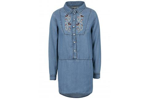 Modrá holčičí dlouhá džínová košile s výšivkou small rags Freya Halenky