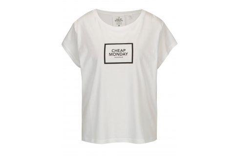 Bílé volné tričko s potiskem Cheap Monday trička s krátkým rukávem