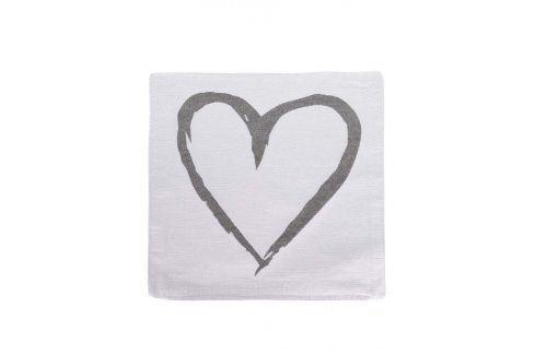 Šedo-krémový povlak na polštář se srdcem Dakls povlečení