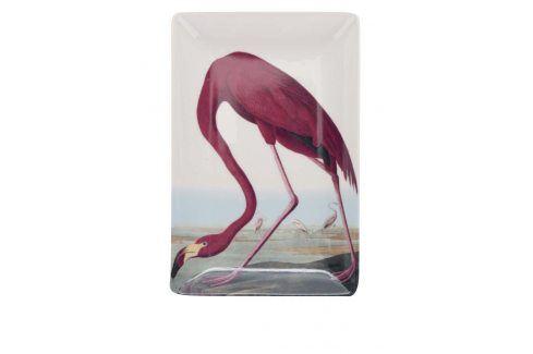 Červeno-krémová porcelánová miska s potiskem Magpie Birds misky a talíře