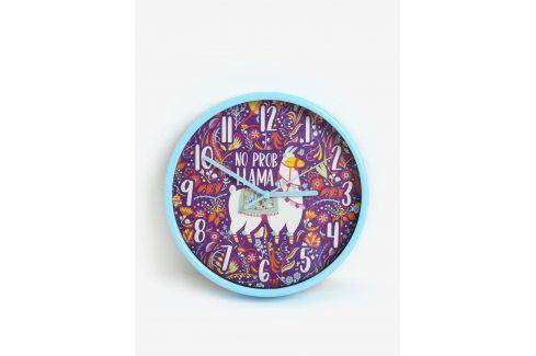 Fialovo-modré dětské nástěnné hodiny s motivem lamy SIFCON hodiny