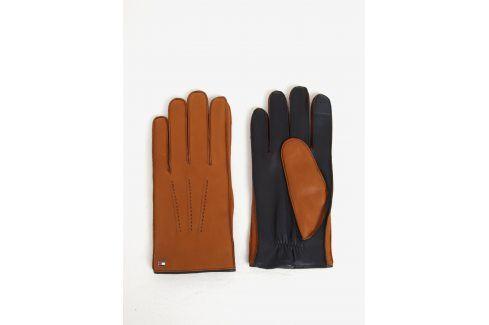Hnědé pánské kožené rukavice Tommy Hilfiger čepice, šály, rukavice