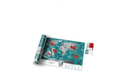 Stírací mapa světa v tyrkysovo-stříbrné Travel Map omalovánky a plakáty