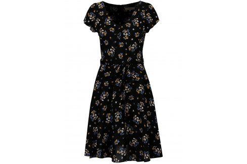 Černé květované šaty Billie & Blossom Móda pro plnoštíhlé
