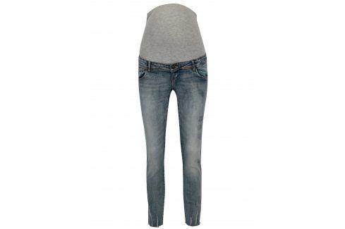 Světle modré těhotenské slim džíny s vyšisovaným efektem Mama.licious Sienna Móda pro těhotné