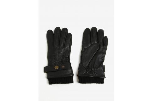 Černé kožené rukavice Jack & Jones Vintage Victor čepice, šály, rukavice