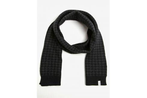 Šedo-černá vzorovaná vlněná šála Selected Homme Mason čepice, šály, rukavice