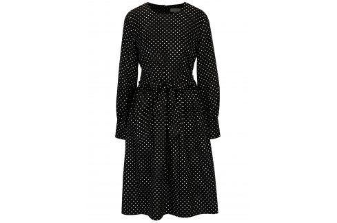 Černé puntíkované šaty se zavazováním Selected Femme Millado šaty na denní nošení