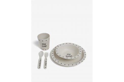 Krémový dětský jídelní set s motivem hvězd Sass & Belle misky a talíře