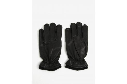 Černé kožené rukavice Shine Original čepice, šály, rukavice