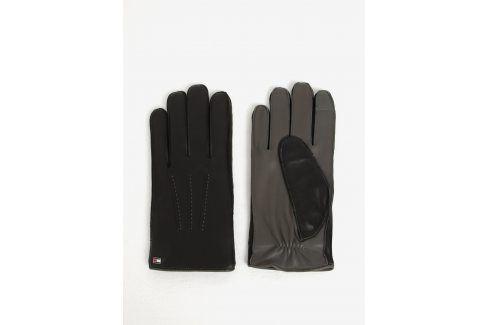 Černé pánské kožené rukavice Tommy Hilfiger čepice, šály, rukavice
