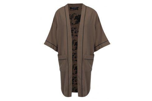 Khaki květovaný lehký kabát Miss Selfridge Bundy a saka