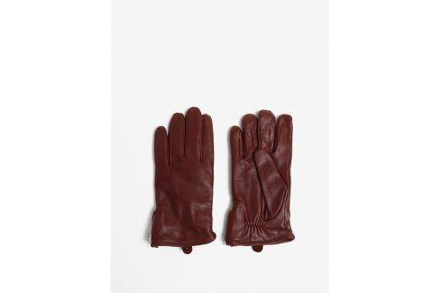 Hnědé pánské kožené rukavice se zipem a kašmírovou podšívkou Royal RepubliQ čepice, šály, rukavice