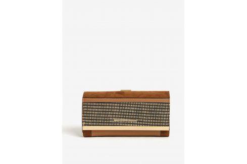 Hnědá vzorovaná peněženka s detaily ve zlaté barvě Bessie London Peněženky