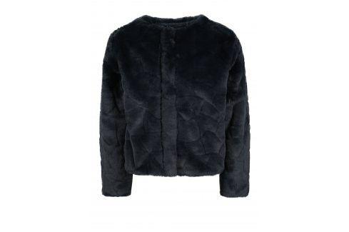 Tmavě modrý holčičí kabát z umělé kožešiny Name it Wamma Kabáty