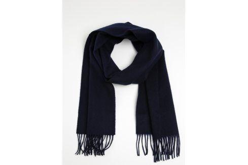 Tmavě modrá vlněná šála s třásněmi Lindbergh čepice, šály, rukavice