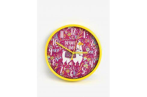 Růžovo-žluté holčičí nástěnné hodiny s motivem lamy SIFCON hodiny