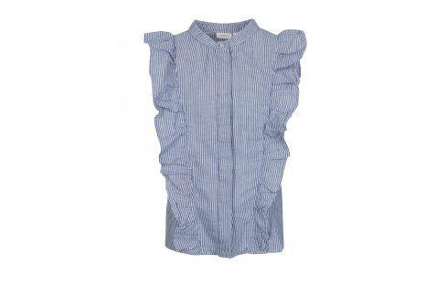 Bílo-modrá holčičí lněná pruhovaná košile bez rukávů name it Dana Halenky