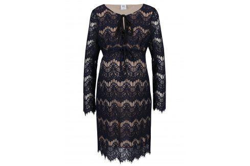 Tmavě modré krajkové těhotenské šaty Mama.licious Nardin Móda pro těhotné