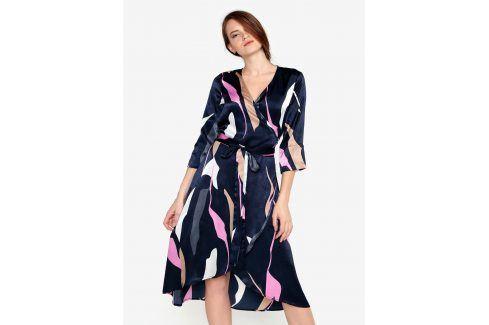 Tmavě modré vzorované zavinovací šaty VERO MODA Laksmi šaty na denní nošení