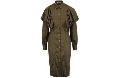 Khaki košilové šaty s volány Closet šaty na denní nošení