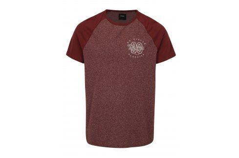 Vínové žíhané tričko s potiskem Burton Menswear London trika s krátkým rukávem