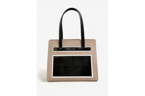 Černo-béžová kožená kabelka ELEGA Isabel kabelky