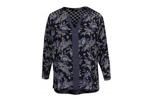 Tmavě modrá květovaná tunika s průsvitnou krajkou na zádech M&Co Móda pro plnoštíhlé