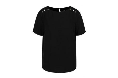 Černá halenka s detaily na ramenou Dorothy Perkins trička s krátkým rukávem