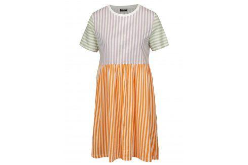Krémovo-oranžové pruhované šaty Noisy May Freja šaty na denní nošení